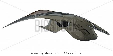 3D Rendering of a futuristic jet airplane, for science fiction or military aircraft themes, with the clipping path included in the file.