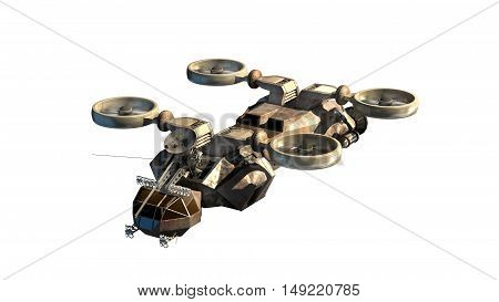 3D rendering of helicopter drone or alien spacecraft for science fiction backgrounds, fantasy war games, futuristic military battles or space travel, with the clipping path included in the file.