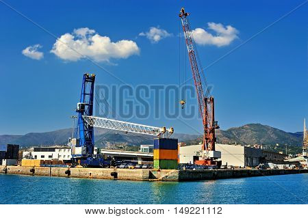 container terminal cranes and forklifts in Genova port