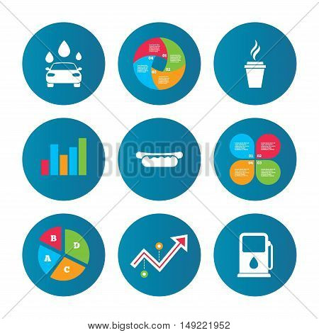 Business pie chart. Growth curve. Presentation buttons. Petrol or Gas station services icons. Automated car wash signs. Hotdog sandwich and hot coffee cup symbols. Data analysis. Vector