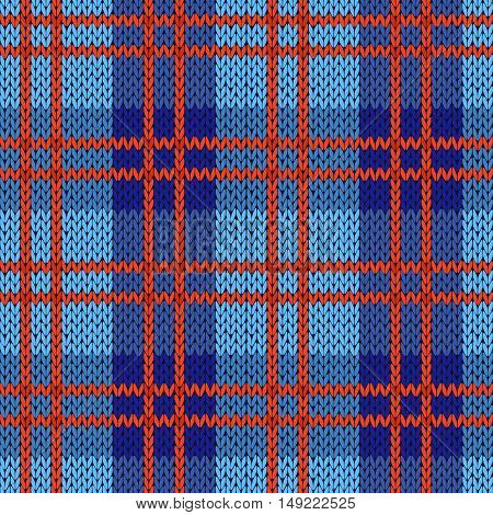 Knitting Seamless Pattern In Blue And Red Colors
