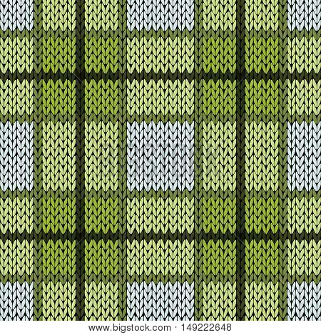 Knitting Seamless Pattern In Warm Green And Grey Hues