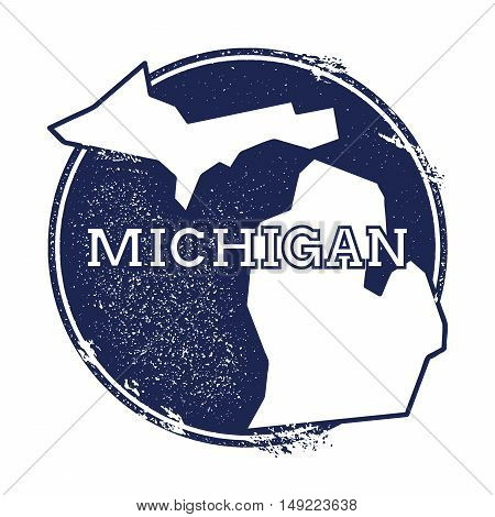 Michigan Vector Map. Grunge Rubber Stamp With The Name And Map Of Michigan, Vector Illustration. Can