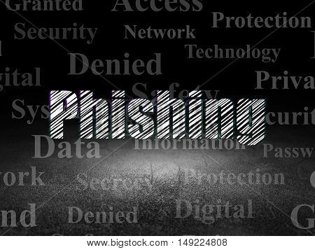 Security concept: Glowing text Phishing in grunge dark room with Dirty Floor, black background with  Tag Cloud