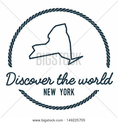 New York Map Outline. Vintage Discover The World Rubber Stamp With New York Map. Hipster Style Nauti