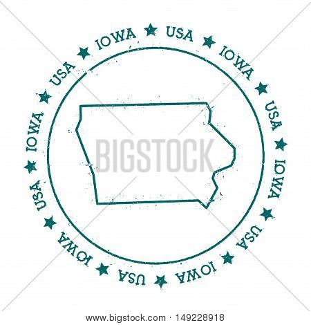 Iowa Vector Map. Retro Vintage Insignia With Us State Map. Distressed Visa Stamp With Iowa Text Wrap