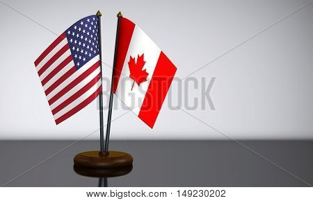 US flag and Canadian desk flags 3D illustration.