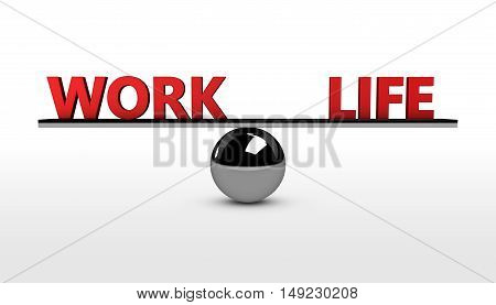 Work life balance concept 3d illustration with balancing red words on a metal sphere.