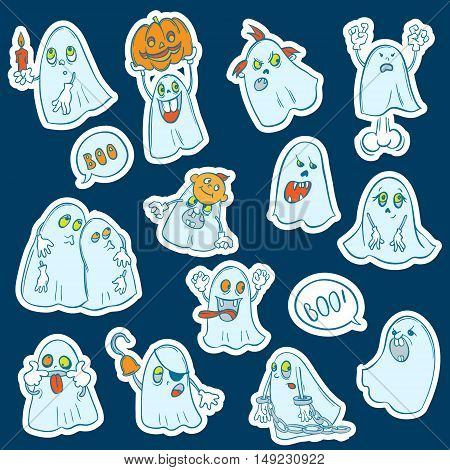 Halloween set of stickers of ghosts with different characters. Cartoon style.