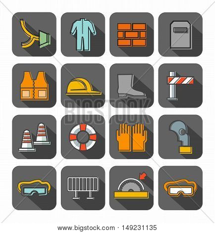 Occupational safety, badges, contour, color, gray background. Vector flat icons with protective clothing and items of human security. Color linear image on a gray background with shadow.