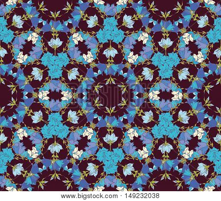 Seamless pattern with bellflowers. Floral ornament. Background