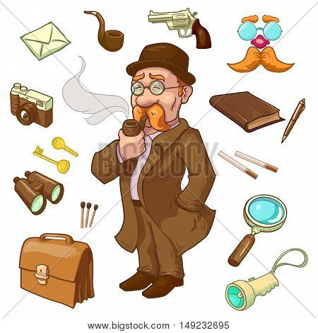 Private eye character in hat and glasses with smoking pipe briefcase gun and binoculars isolated vector illustration