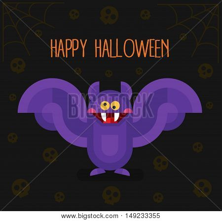 Flat design vector illustration with cartoon cute scary vampire bat with big teeth, skulls and spider's web. Happy Halloween gift card or banner.