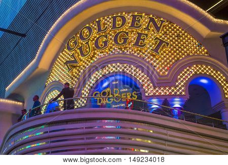 LAS VEGAS - JUNE 18 : The Golden Nugget hotel and casino in downtown Las Vegas on June 18 2016. Golden Nugget is the largest hotel in the downtown area with a total of 2345 rooms.