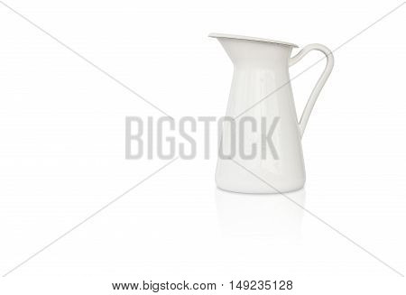 white milk jug beverage pitcher with reflection shadow on white isolated included clipping path on jug body only