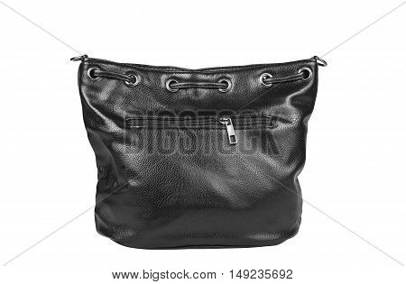 luxury leather black hand bag with zipper for man or woman on white isolated included clipping path