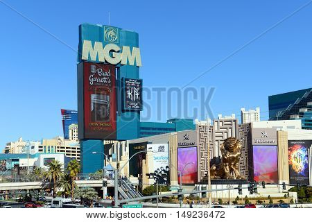 LAS VEGAS - DEC 25: MGM Grand Las Vegas on Las Vegas Strip on Dec. 25, 2016 in Las Vegas, Nevada, USA. The hotel is the largest single hotel in the United States owned by MGM Resorts International.