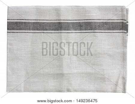 top view blank gray handkerchief (napkin) plate mat (napery) dish towel or tablecloth in the kitchen and restaurant for your place object and food background or wallpaper on white isolated included clipping path