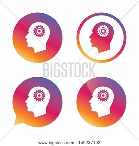 Head with gear sign icon. Male human head symbol. Gradient buttons with flat icon. Speech bubble sign. Vector