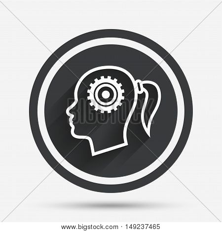 Head with gear sign icon. Female woman human head think symbol. Circle flat button with shadow and border. Vector