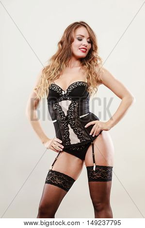 Smiling Girl Wearing Sexy Lingerie