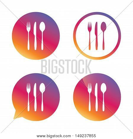 Fork, knife, tablespoon sign icon. Cutlery collection set symbol. Gradient buttons with flat icon. Speech bubble sign. Vector