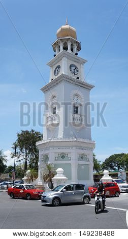 PENANG, MALAYSIA - September 24, 2015: Queen Victoria Memorial Clock Tower in George Town, Penang.