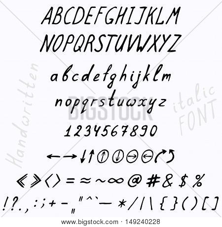 Font cursive italics. A set of uppercase and lowercase letters punctuation digits and hands.