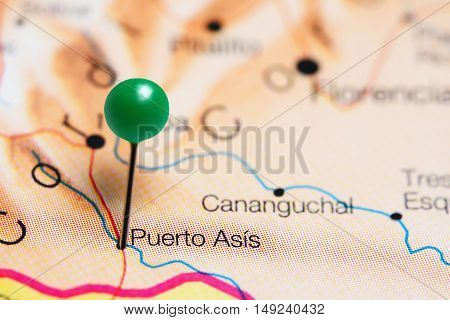 Puerto Asis pinned on a map of Colombia