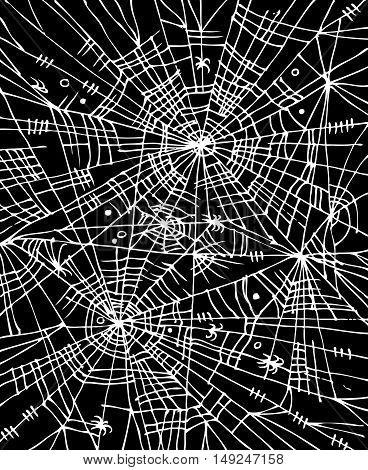 Halloween web background 304. Eau-forte black-and-white decorative texture vector illustration.