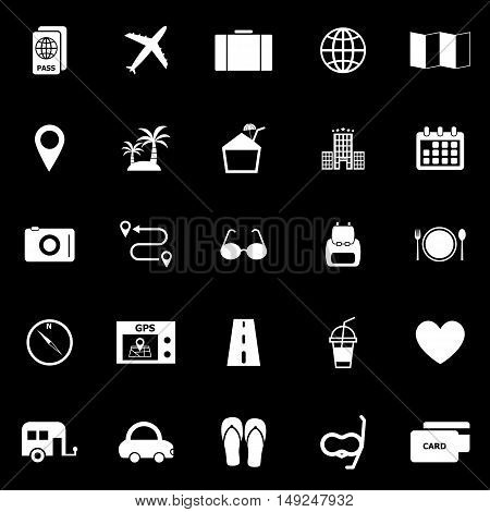 Trip icons on black background, stock vector