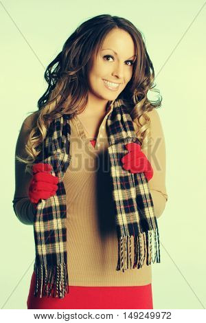 Beautiful girl wearing winter fashion clothes