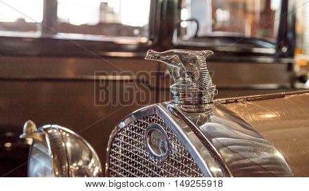 El Segundo, CA, USA - September 26, 2016: 1931 Ford Model A Roadster with a quail hood ornament displayed at the Automobile Driving Museum in El Segundo, California, United States. Editorial use only.