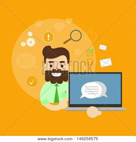 Smiling cartoon man holding laptop with speech bubbles on screen. Social media banner on yellow background with communication icons, vector illustration. Media sharing, virtual marketing