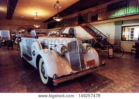 El Segundo, CA, USA - September 26, 2016: 1936 Packard touring car displayed at the Automobile Driving Museum in El Segundo, California, United States. Editorial use only.