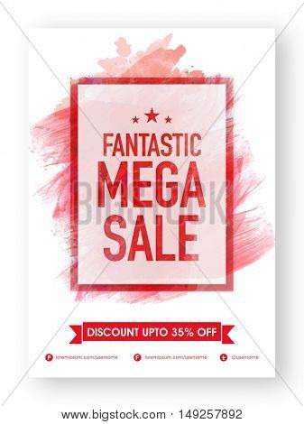 Fantastic Mega Sale, Poster, Banner, Flyer or Pamphlet with Discount Upto 35% Off and abstract paint stroke, Vector illustration.