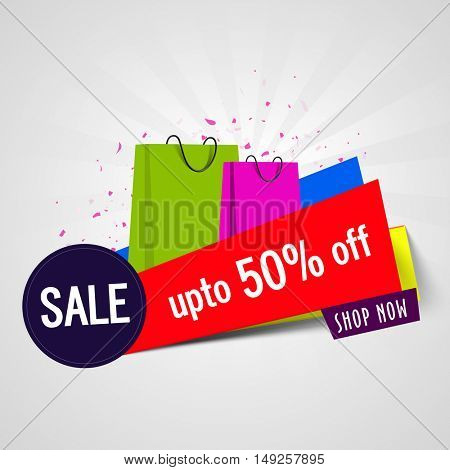 Sale Poster, Banner or Flyer with 50% Discount Offer and Colorful Shopping Bags, Can be used as Sticker, Tag or Label Design.