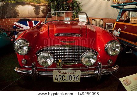 El Segundo, CA, USA - September 26, 2016: Red 1959 Austin Healey 300 Roadster displayed at the Automobile Driving Museum in El Segundo, California, United States. Editorial use only.