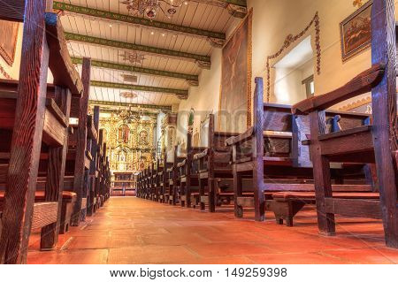 San Juan Capistrano, CA, USA --September 25, 2016:  Serra Chapel at the Mission San Juan Capistrano in Southern California, United States. Editorial use only.