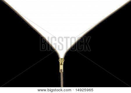 Gold Zipper Unzipping Black to White