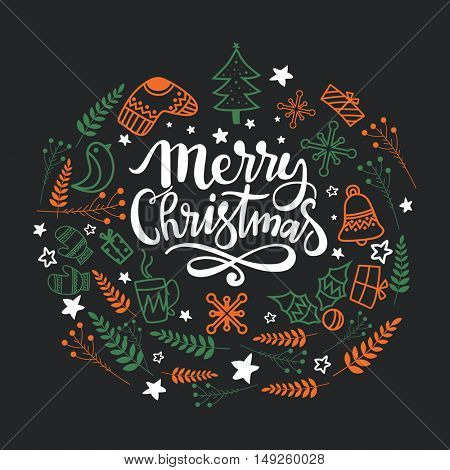 Greeting Card design with various xmas ornaments for Merry Christmas celebration.