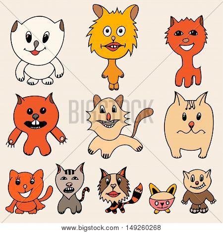 Set of cute cat cartoon. Vector illustration of funny colored cat. Hand drawn art sketch cat.