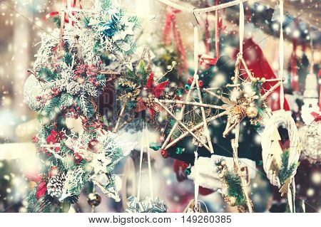 Christmas decorations on the market. Festive Card. Vintage Christmas background