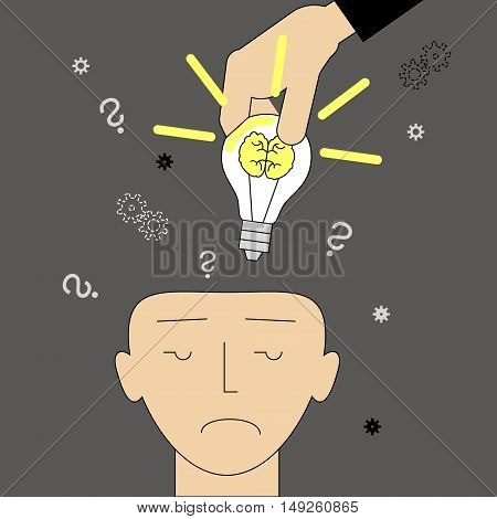 Investing ideas. Hand putting light ideological brains in your head. Vector illustration of a flat line