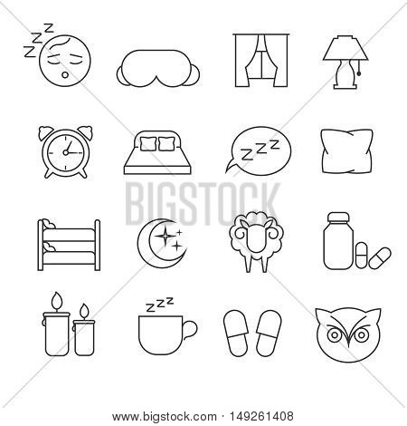Sleeping bed time rest thin line outline vector icons. Dream and bedtime, sheep and mask for sleep illustration