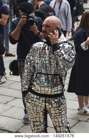 Fashionable Man Posing During Milan Fashion Week