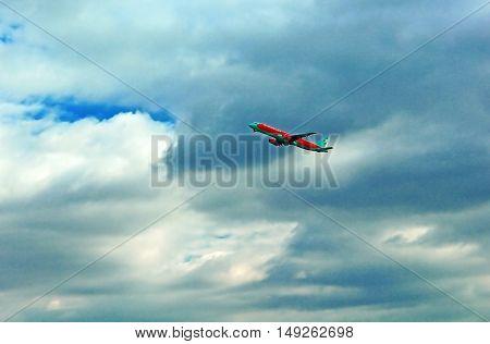 KYIV, UKRAINE - OCTOBER 5, 2013: Airplane UR-WRK Wind Rose Aviation Airbus A320-212 taking off the Boryspil airport, Ukraine