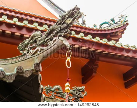 Detail of Chinese Buddhist Temple in Singapore