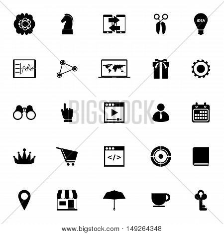 Business plan icons on white background stock vector