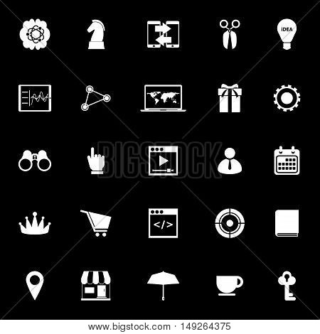 Business plan icons on black background stock vector
